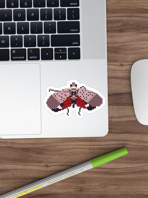 Pixel Spotted Lanternfly Sticker on Laptop