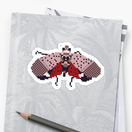 Pixel Spotted Lanternfly Sticker on Binder