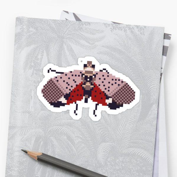 Pixel Spotted Lanternfly Sticker on Binder