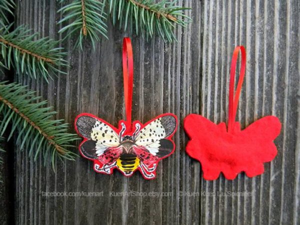 Spotted Lanternfly Felt Christmas Tree Ornament